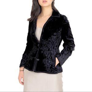 SALE • Eileen West Black Velvet Embroidered Jacket